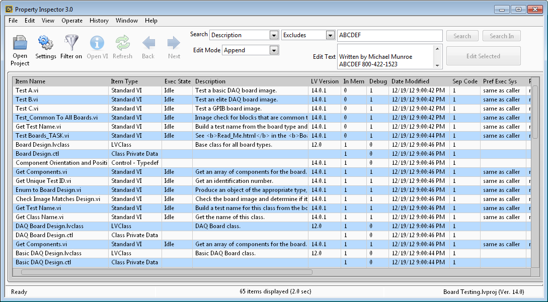 LabVIEW Property Inspector Batch VI Editor Utility